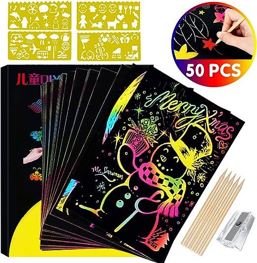 50 Große Blätter Regenbogen Kratz Kratzbilder Set Für Kinder,Kratzpapier Set