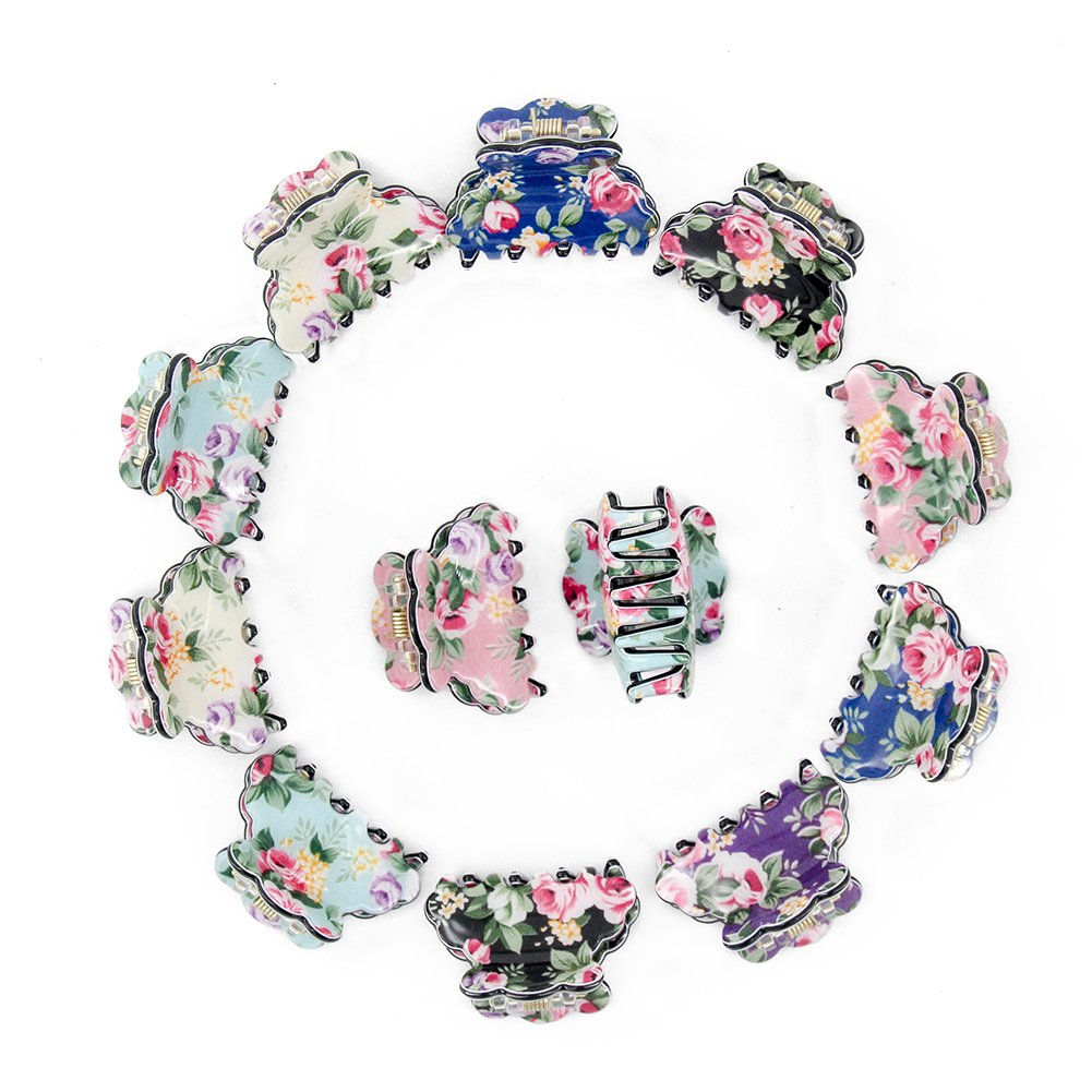 Yeshan Plastic No-Slip Grip Jaw Hair Clip,Floral Print Small Acrylic Hair Claw Clips for Girls and Women,Pack of 12