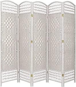 Oriental Furniture 5 1/2 ft. Tall Fiber Weave Room Divider - White - 5 Panel