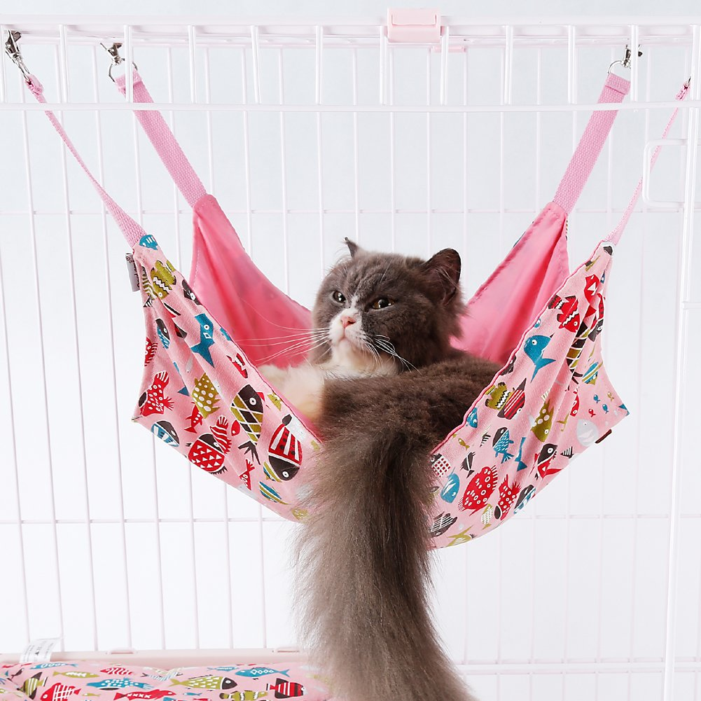 Pet Hammock - Cage Hammock - Cotton Canvas Fabric - Lovely Fish Design Pet Bed - Hammock for Cats, Ferret, Rat, Chinchilla, Rabbit, Small Dogs (Pink, Hammock Only) by Doglemi
