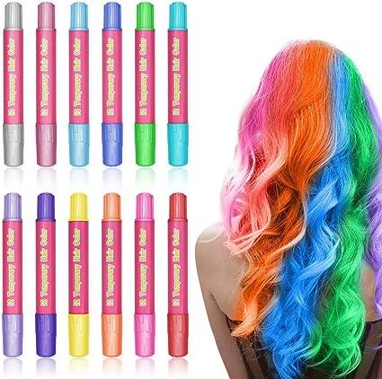 12 Colores Set tiza para el cabello, Tiza para el pelo, Maquillaje Infantil, WAWJ Lavables Coloración temporal Cabello Niños Regalos ...