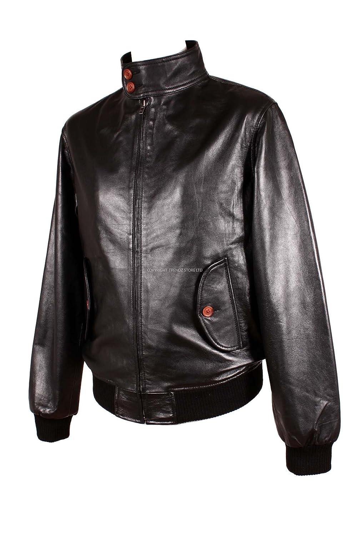 Mens HARRINGTON (2154) Black Retro Fashion Real Lambskin Leather Jacket