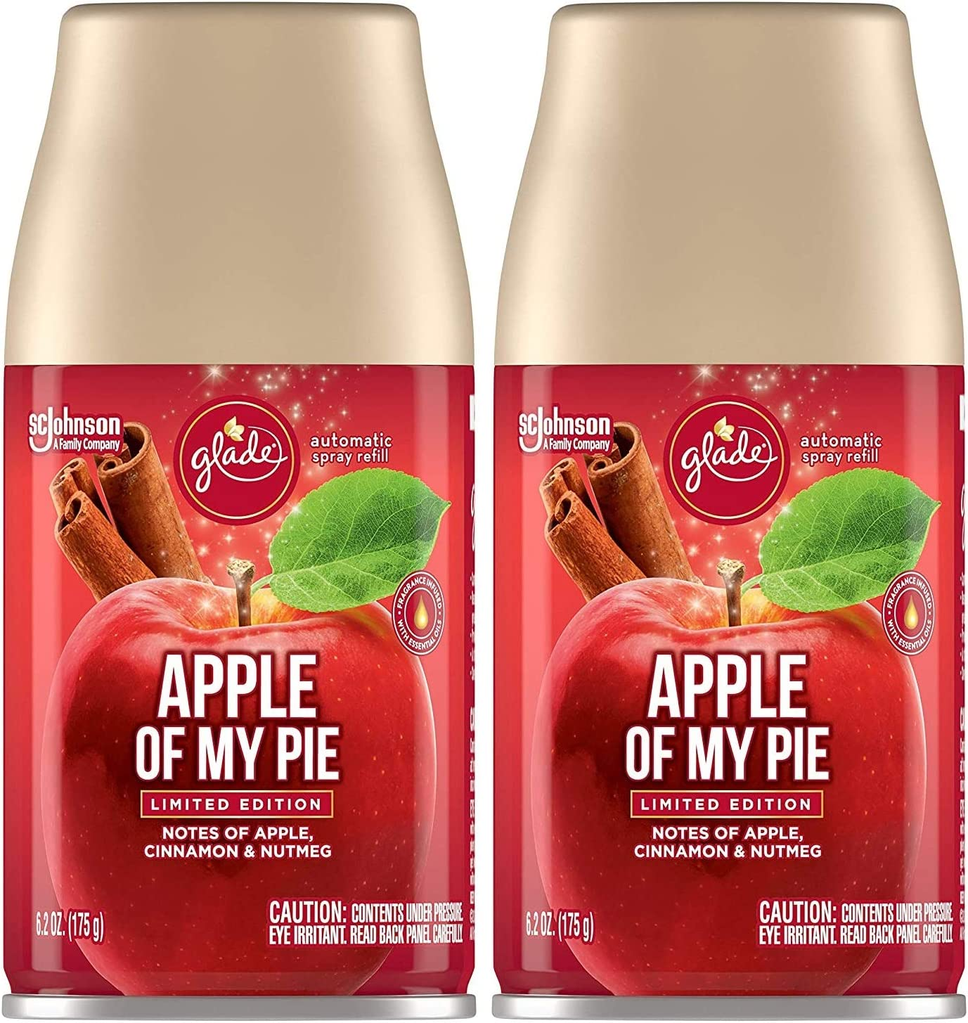 Glade Automatic Spray Refill - Apple of My Pie - Holiday Collection 2020 - Net Wt. 6.2 OZ (175 g) Per Refill Can - Pack of 2 Refill Cans