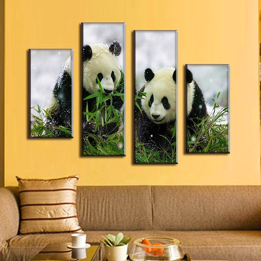 Amazon.com: BERDECIA Chinese Panda eating bamboo Canvas Greedy Panda ...