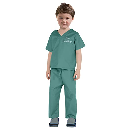 63aa10f96d3ea Scoots Kids Scrubs for Boys, Big Brother Embroidery, 12-18 Months, Medical