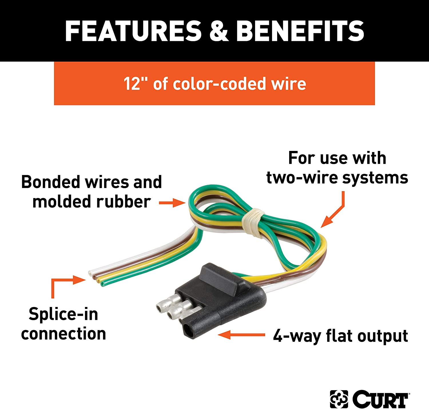 Amazon Com Curt 58030 Trailer Side 4 Pin Flat Wiring Harness With 12 Inch Wires Automotive