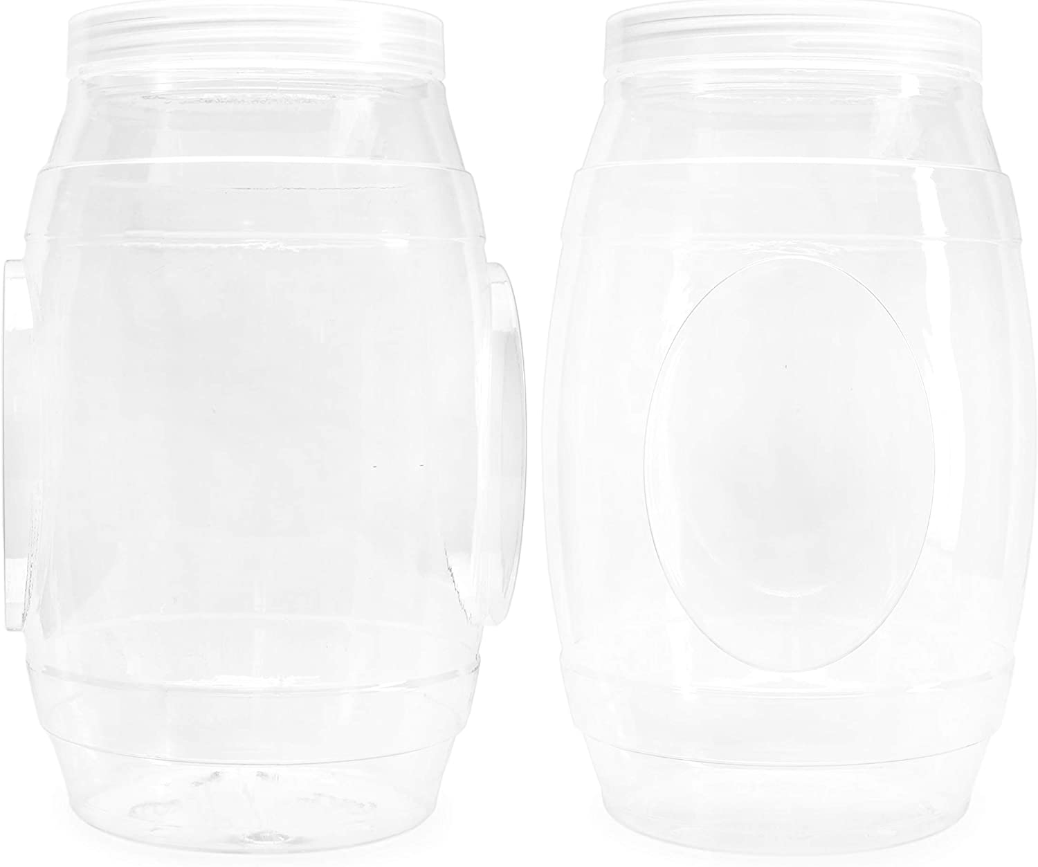 Cornucopia Brands Round Plastic Barrel Jars (2-Pack, 3.5 Quart); Barrel-Shaped Canisters for Food and Household Storage