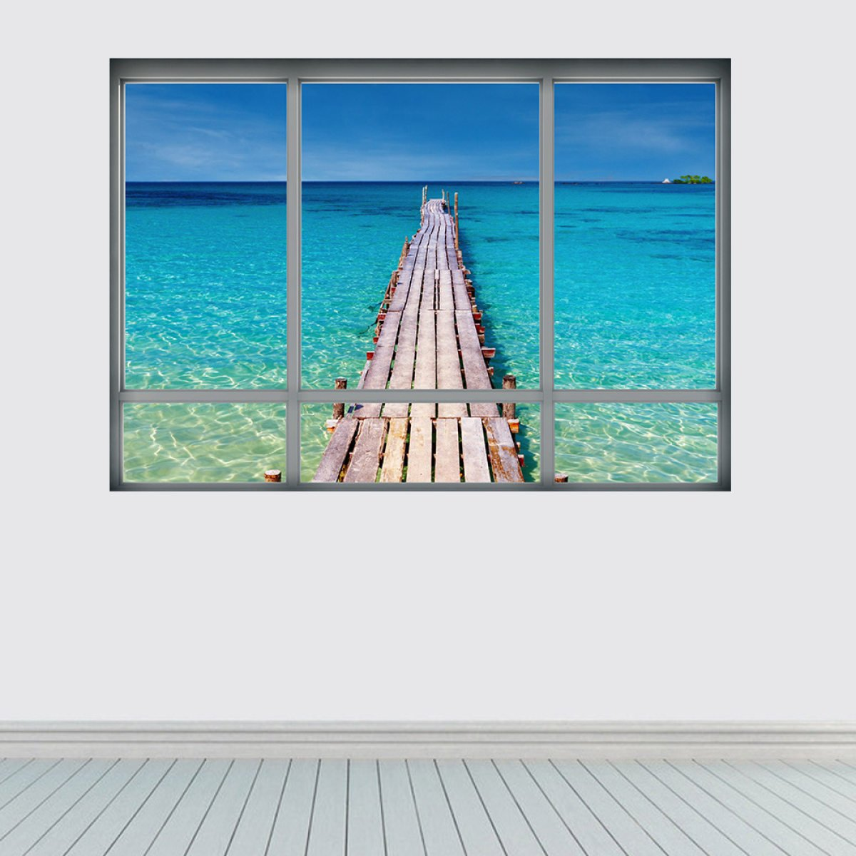 HKKIJIN Ventanas Falsas Creativas 3D Visió n De La Playa Decoració n Del Dormitorio De La Sala De Estar PVC Autoadhesivo Impermeable Desprendible huzhichao