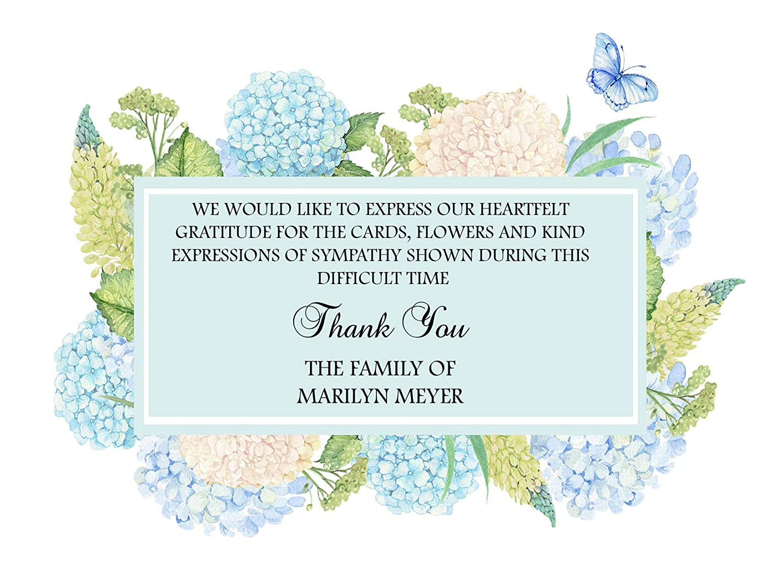 Sympathy Acknowledgement Cards Funeral Thank You and Bereavement Notes Personalized Hydrangea