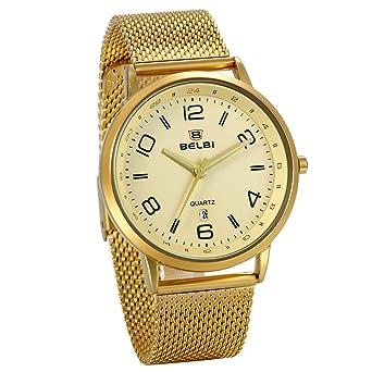 JewelryWe Reloj Dorado para Hombre, Esfera Grande Números ...