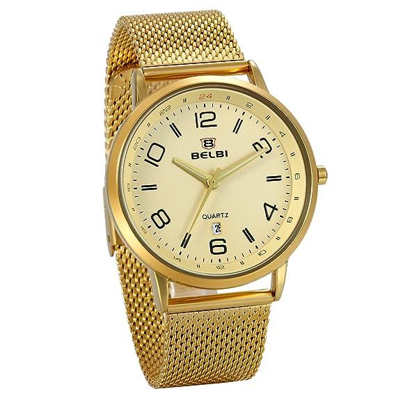 c5513e220 JewelryWe Reloj Dorado para Hombre, Esfera Grande Números Arábigos, Color  Oro Correa de Acero Inoxidable Reloj de Caballero Con Calendario:  Amazon.es: ...