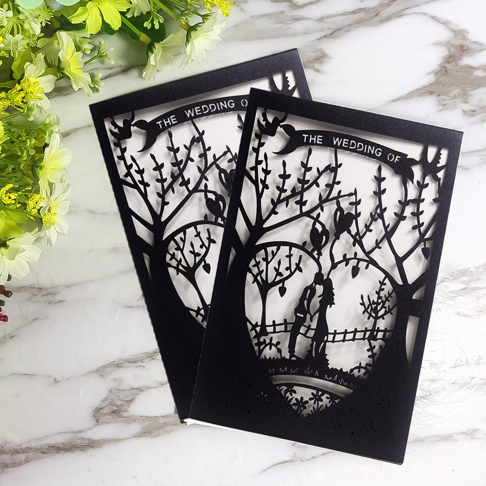 Laser Cut Printable Wedding Invitation Kits - 25pcs 4.7'' x 7'' Black Love Tree Wedding Invitations Cards with Printable Paper and Envelopes for Engagement Marriage Bridal Shower Anniversary by JOLALIA (Image #4)