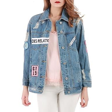 3769d5384566 La Modeuse - Veste en Jean à Coupe Oversize Style Boyfriend  Amazon.fr   Vêtements et accessoires
