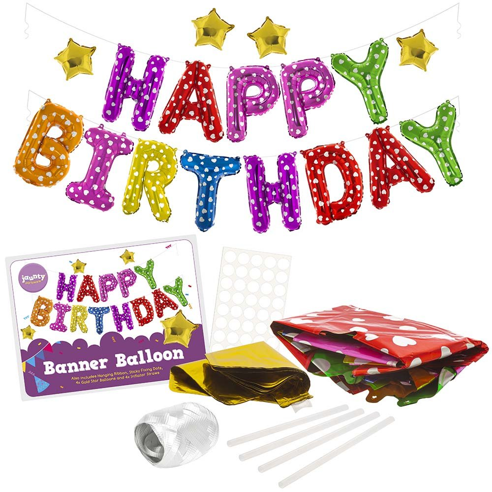 jaunty partyware Happy Birthday Banners 2 FREE EBooks | Birthday Decoration Set | 16 Inch Multi Coloured Self Inflating Balloons