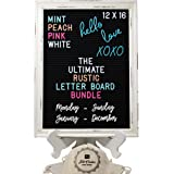 Large Rustic Black Felt Letter Board Ultimate Bundle Farmhouse Vintage White Wood Frame and Stand by Felt Creative Home Goods 12x16 Inch Changeable Message Board 800+ Letter Set Numbers Emoji Cursive (Color: Black, Tamaño: 12x16 Inches)