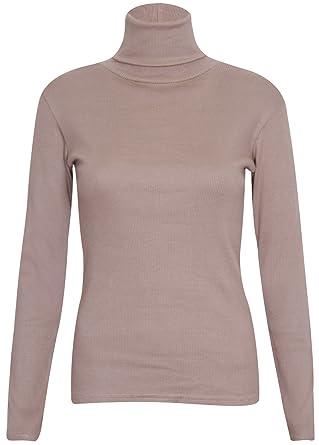 9f4902abdec06b Womens Polo Turtle High Roll Neck Plain Long Sleeve Ladies Ribbed Stretch T-Shirt  Top
