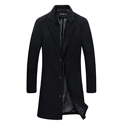 Beninos Mens Trench Coat Slim Fit Notched Collar Overcoat at Men's Clothing store