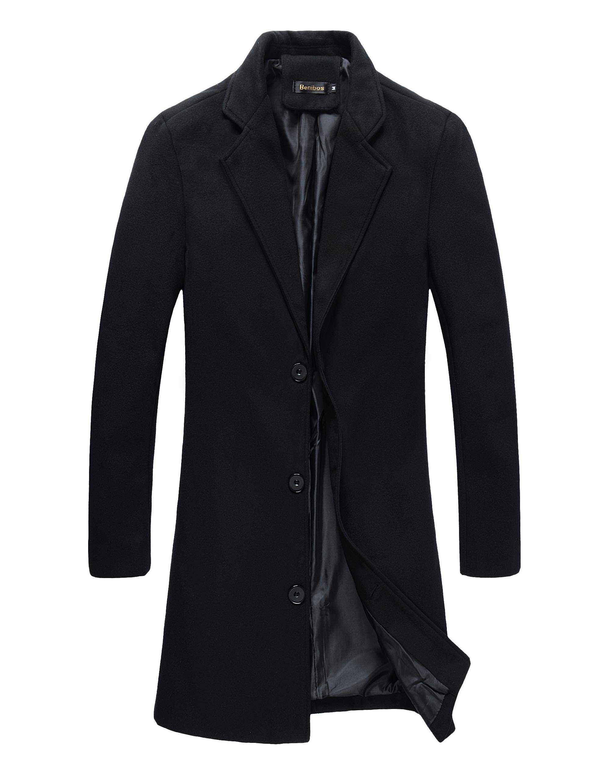 Beninos Mens Trench Coat Slim Fit Notched Collar Overcoat (M, F20 Black) by Beninos