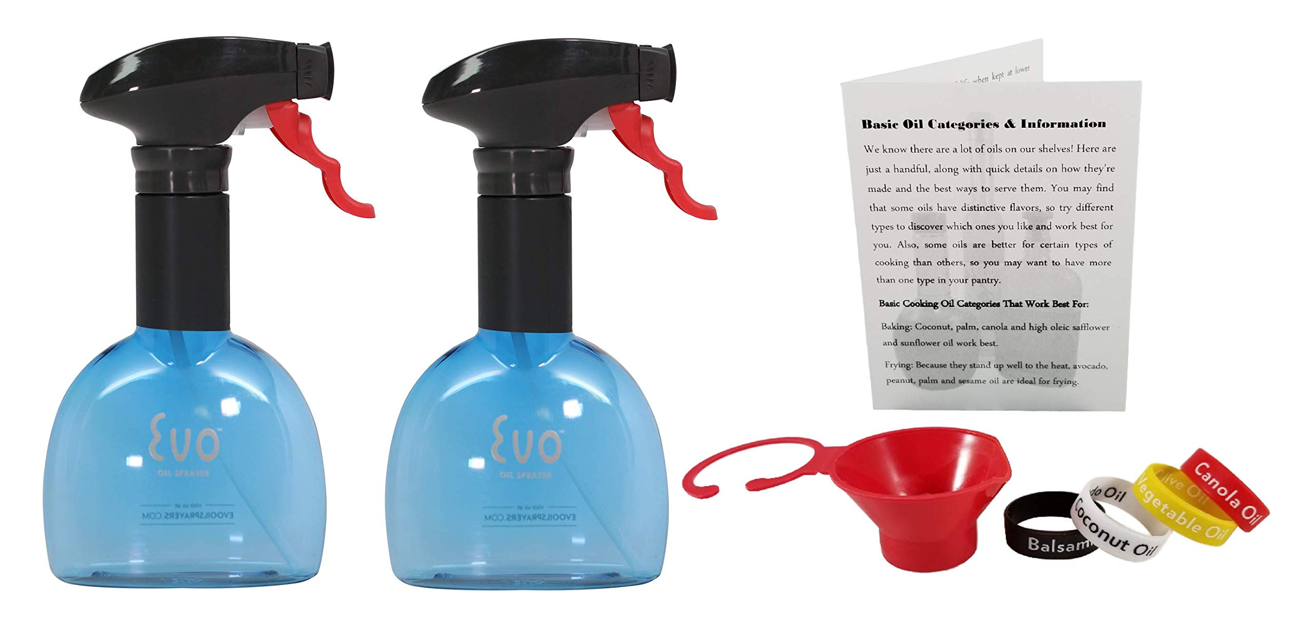 Evo Oil Sprayer Bottle for Cooking, Red, Purple or Blue, Set of 2, 8 Ounce Reusable Refillable Ellipsoid Spritzer, Comes with Funnel, Identification Bands and Informational Card (Blue) by EVO