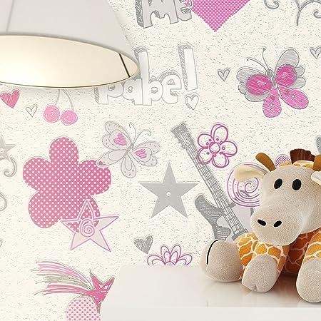 NEWROOM Kindertapete Pink Blumen Herzen Kinder Vliestapete Grau Vlies Kindertapete Kinderzimmer Mädchen