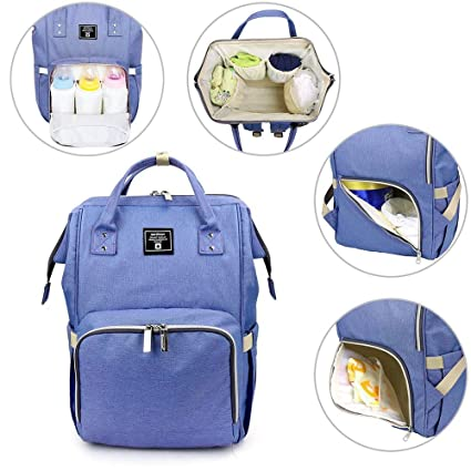 Dark Blue MoFut Changing Backpack Bag Nappy Rucksack Multi-Function Waterproof Travel Backpack with Insulated Pockets for Mom and Dad Baby Changing Bag