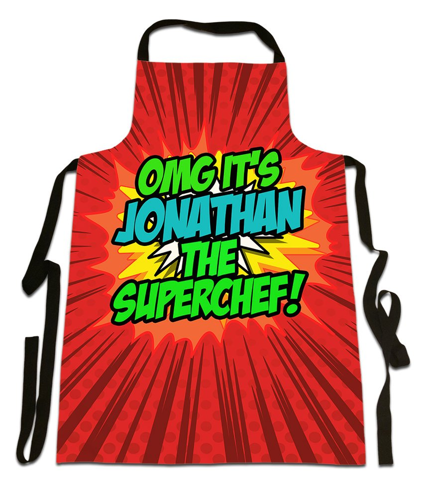 OMG It's Jonathan The Superchef!', Personalised Name, Funny Comic Art Style Design, Canvas Apron,, Size 25in x 35in approximately Fresh Publishing Ltd