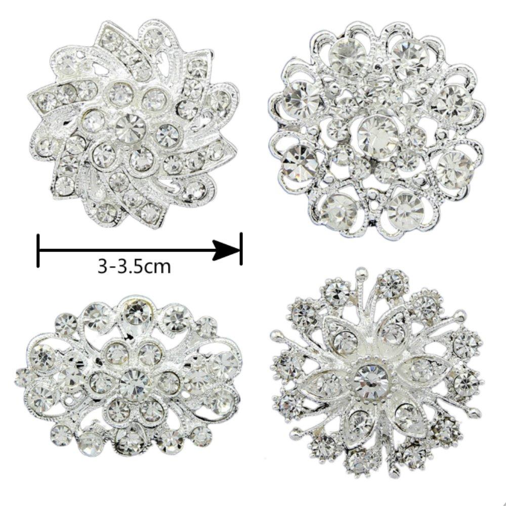 4pcs Silver Rhinestone Flower Pearl Wedding Brooches Pins Set