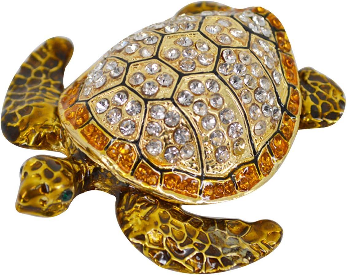 Amazon Com Rebecca Sparkling Tortoise Trinket Box Rhinestone Jewelry Box Decorative Jewelry Display Turtle Home Kitchen