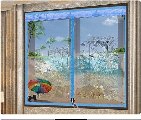 Pegatinas mágicas Pantalla de puertas para casas,El mosquito Pantalla de puertas con imanes Cremallera Magnético de la malla puerta del velcro No magnético Invisibilidad Se ajusta el tamaño de la ventana-F 150x170cm(59x67inch):