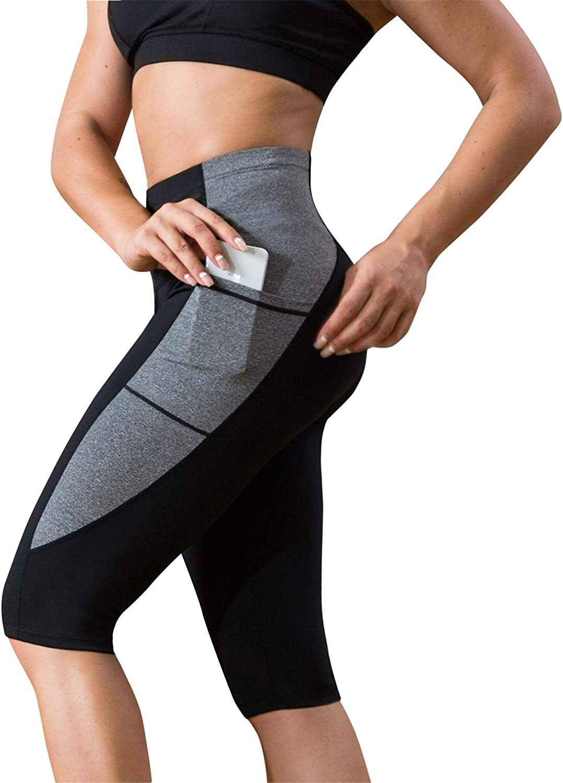 Womens Capri Leggings Yoga Pants Pocket Gym Fitness Workout Exercise Sports Crop