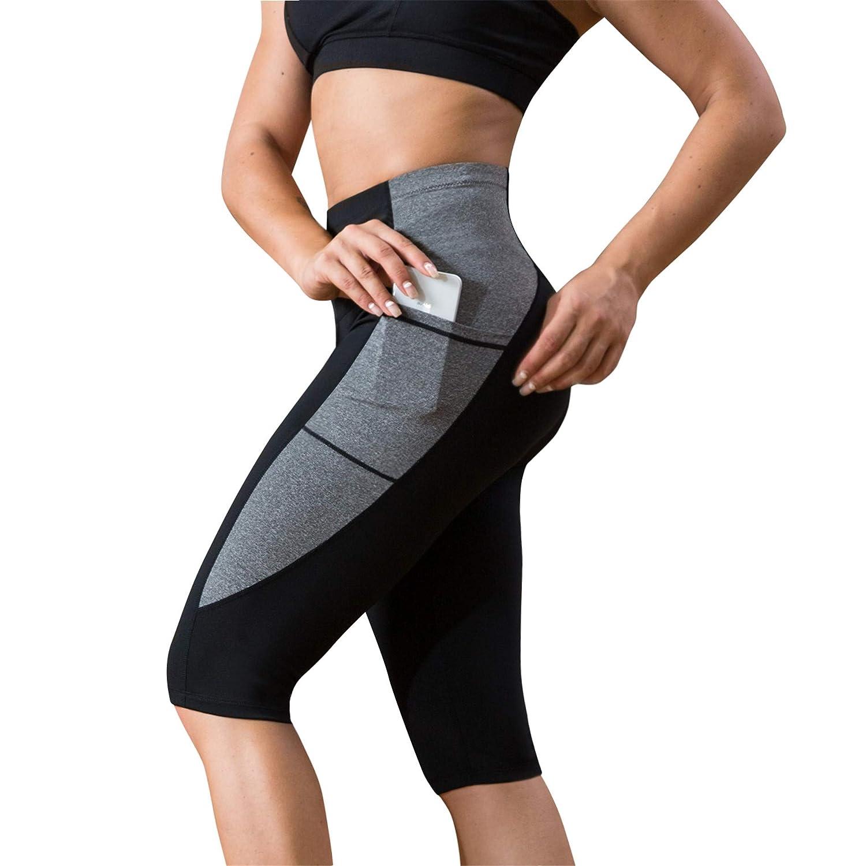 Women High Waist Yoga Fitness Leggings Contrast Stitching Running Gym Stretchy Sport Pants