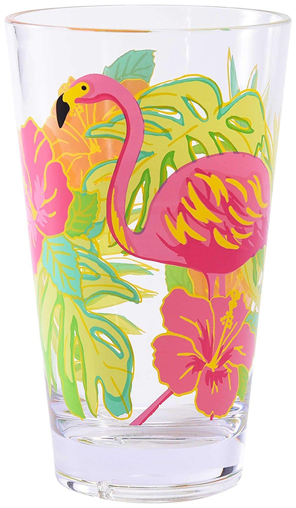 Coastal Home Flamingo Hibiscus Highball Glass One Size Green/pink
