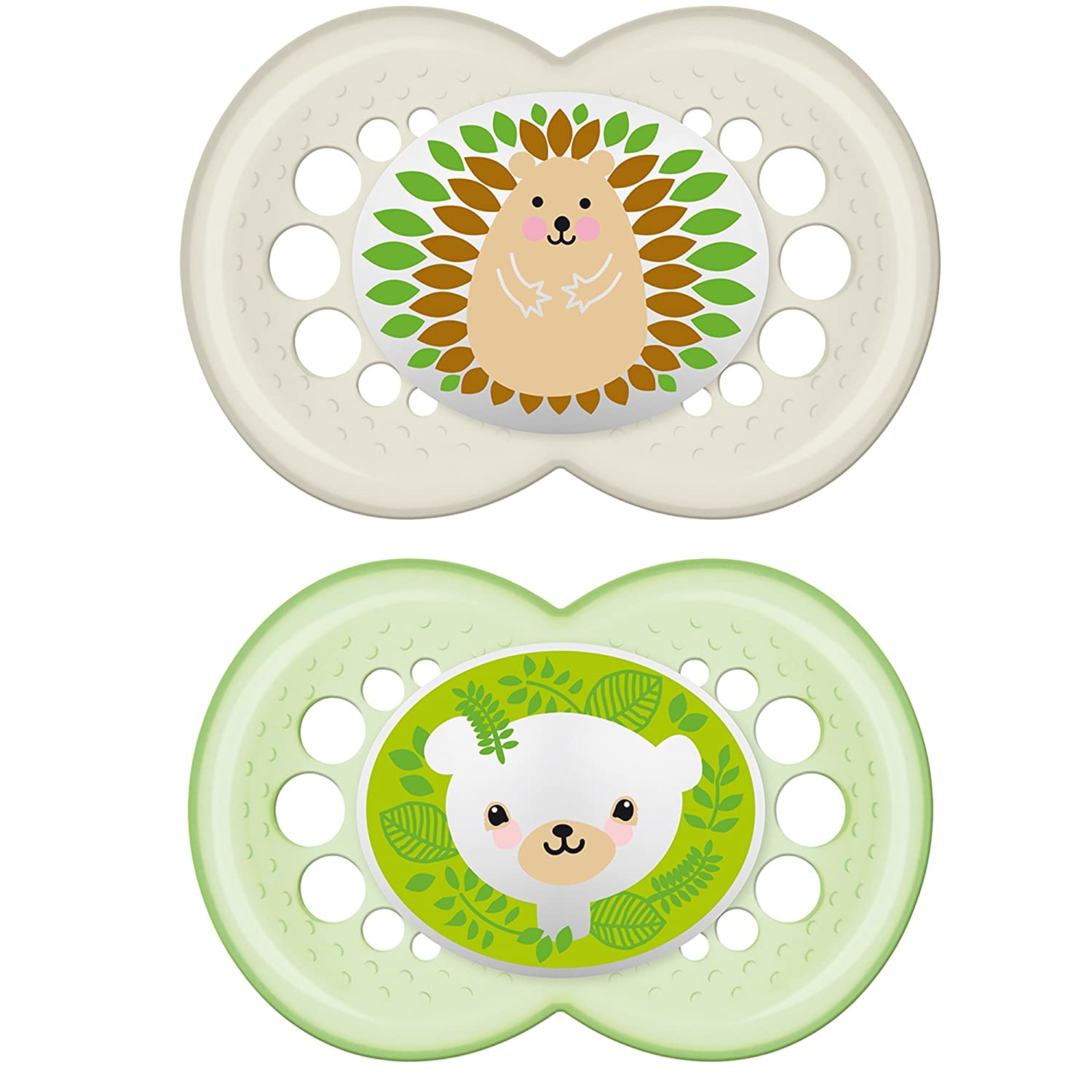 MAM Pacifiers, Baby Pacifier 6+ Months, Best Pacifier for Breastfed Babies, 'Animal' Design Collection, Unisex, 2-Count 3544-012-0-1