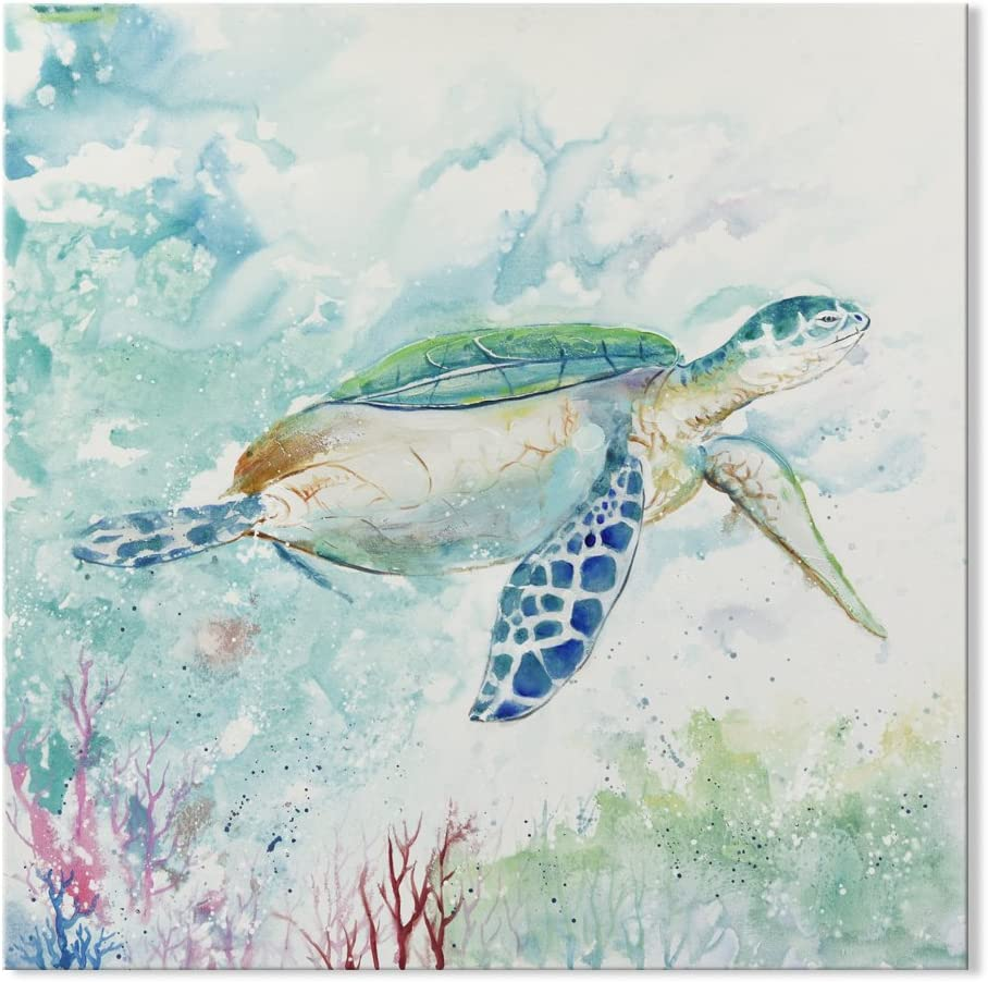 SEVEN WALL ARTS- Sea Turtle Bathroom Wall Decor Canvas Prints Teal Watercolor Blue Ocean Painting Beach Theme Framed Artwork Pictures for Bedroom Navy Home Decor 32 x 32 Inch