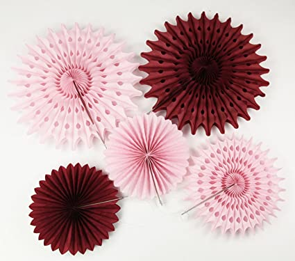 burgundy pink bridal shower decorations pinwheels paper fan 7pcs burgundy cream pink tissue paper fans tissue