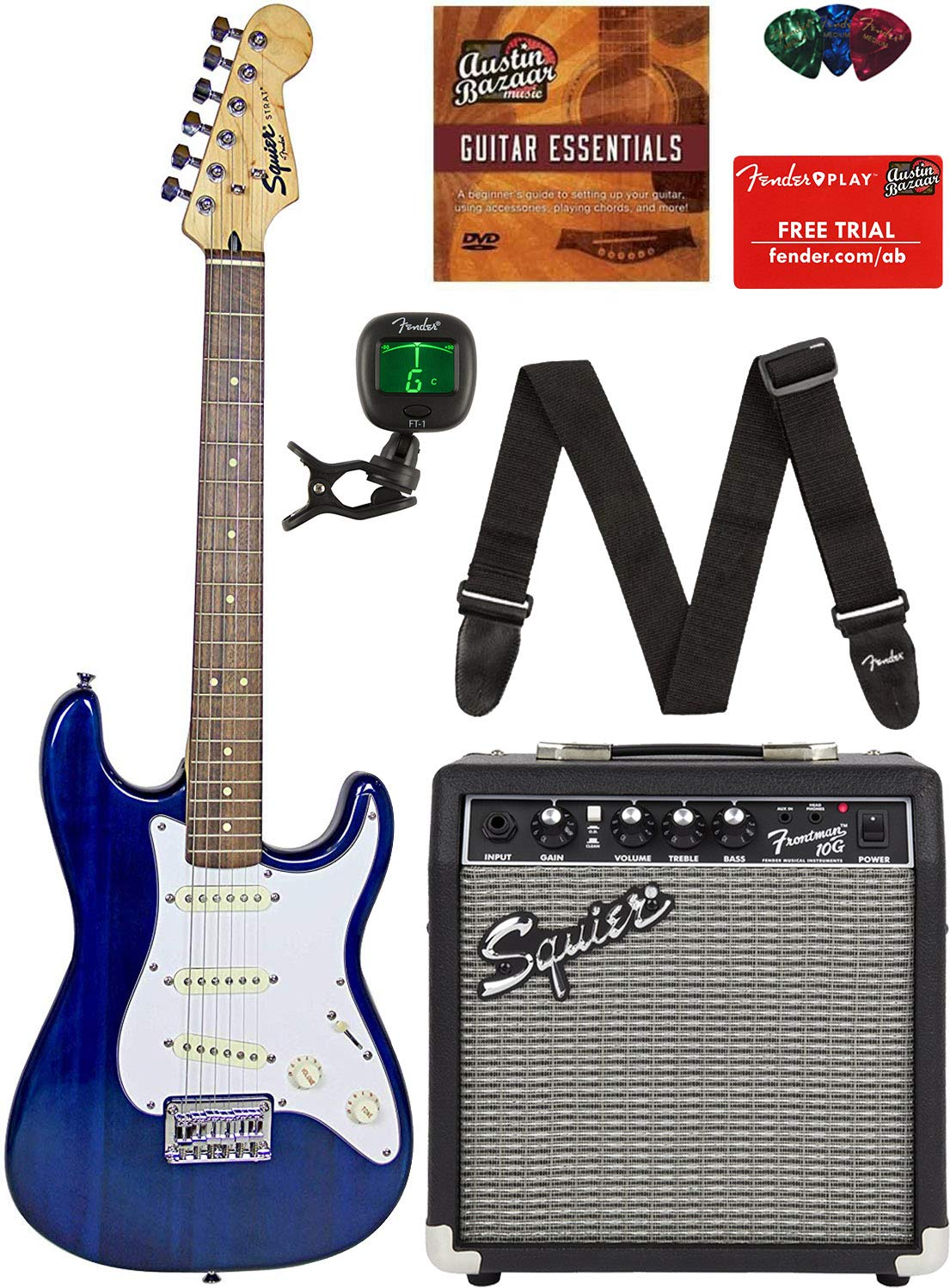 Squier by Fender Short Scale (24'') Stratocaster - Transparent Blue Bundle with Frontman 10G Amp, Cable, Tuner, Strap, Picks, Fender Play Online Lessons, and Austin Bazaar Instructional DVD by Fender