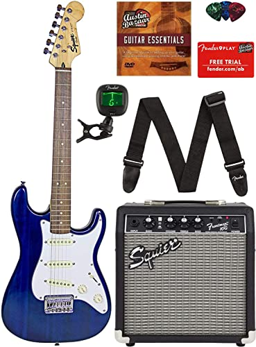 Squier by Fender Short Scale Stratocaster - Transparent Blue Bundle