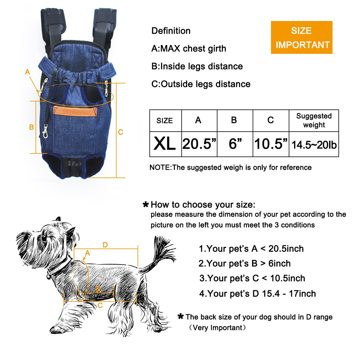 NEFBENLI Denim Blue Front Kangaroo Pouch Dog Carrier,Wide Straps Shoulder Pads,Adjustable Legs out Pet Backpack Carrier Walking,Travel,Hiking,Camping (X-Large) by NEFBENLI (Image #3)
