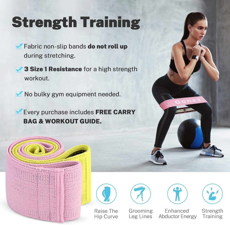 Bande Elastique Fitness Tissu pour Les Jambes et Les Fesses Squat Sport ZoneYan Fitness Bandes de R/ésistance Bande Exercice Fessier Antid/érapante Set de 3