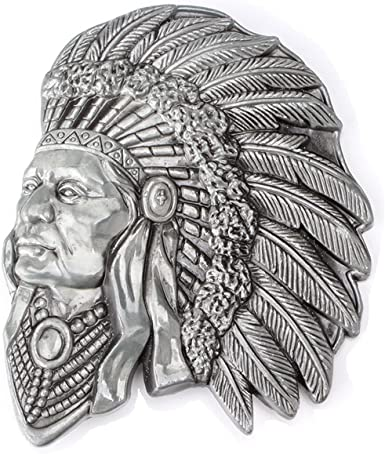 Vintage Native American Indian Chieftain Head Men/'s Belt Buckle Cowboy Jewelry