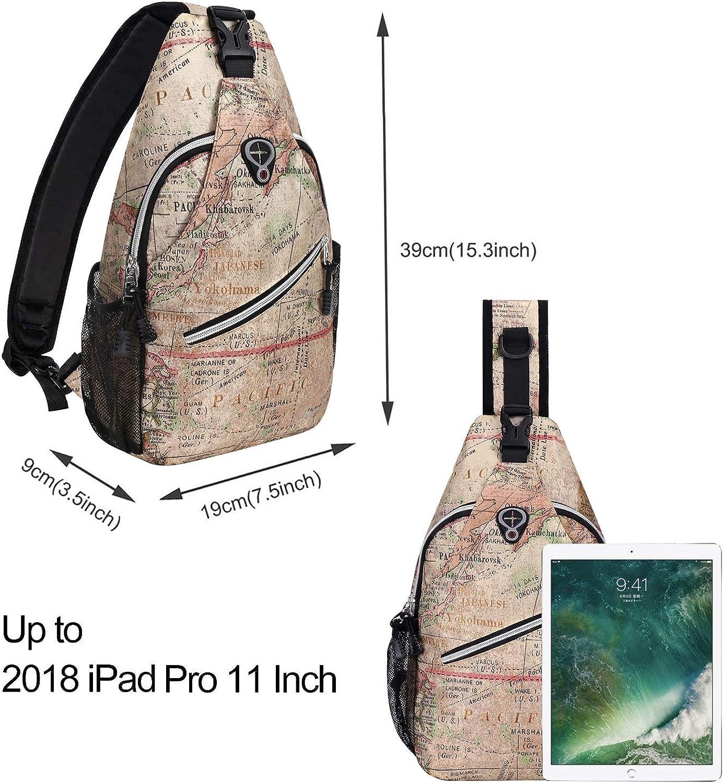 Camel Base World Map MOSISO Sling Backpack,Travel Hiking Daypack Pattern Rope Crossbody Shoulder Bag
