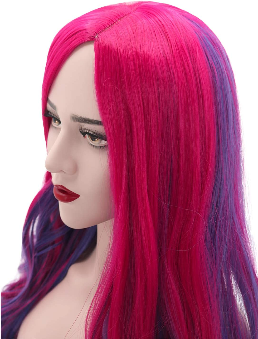 Mildiso Anime Cospaly Wig for Mal Adult Women Blue Purple Halloween Costumes Wig Long Wavy Fashion Hair Wigs with Wig Cap M093