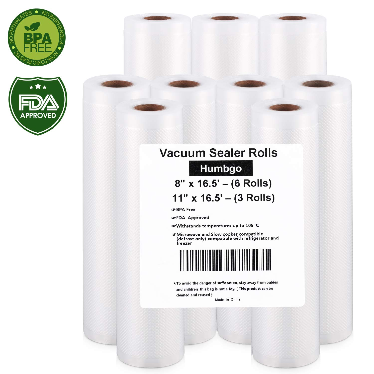 Vacuum Sealer Rolls, 9 Pack 8''x16.5' and 11''x16.5' Embossed Commercial Grade Bags Rolls for Food Saver and Sous Vide, BPA Free and FDA Approval