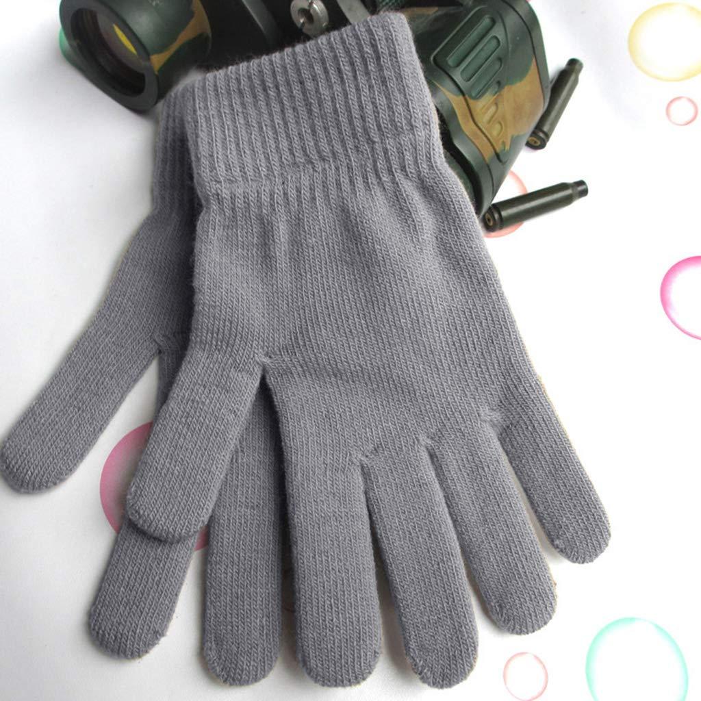 fodera in peluche scaldamuscoli cachi con dita tinta unita Guanti invernali unisex a coste guanti magici termici lavorati a maglia