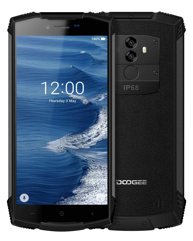 "Rugged Smartphone in Offerta 4G, DOOGEE S55 Dual SIM Android 8.0 IP68 Impermeabile Telefono Cellulare in Offerta, 4GB RAM+64GB ROM, 13.0+8.0MP/5MP, 5.5""HD 18:9, 5500 mAh, Face ID GPS Cellulari,Nero"
