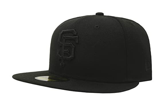 competitive price c6e9d fe895 New Era 59Fifty Hat MLB Basic San Francisco Giants Black Black Fitted  Baseball Cap (