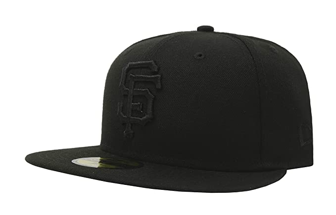 a50b1f786e0 New Era 59Fifty Hat MLB Basic San Francisco Giants Black Black Fitted  Baseball Cap (