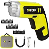 CACOOP Electric Cordless Screwdriver Set (CSD04002), 3.6V Li-ion Rechargeable Battery Power included 1)Flexible Extension Bit Holder, 1)60mm Mag Bit Holder, 24)25mm Screwdriver Bits, 1)USB Charge Cable & Zipper Carry Bag