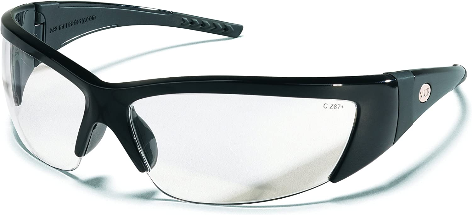 Crews FF210 ForceFlex 2 Safety Glasses with Black Frame and Clear Lens, 1 Pair