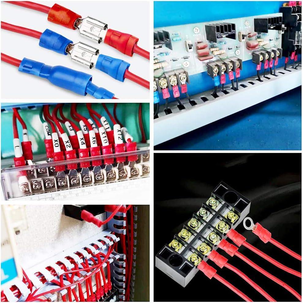 Terminal de Empalme Mallalah 360PCS Conector de Cable El/éctrico,Terminales Aislados Conector de Cable El/éctrico,Terminales Faston Aislados El/éctricamente 360PCS Pala Bala Se Incluyen Anillo